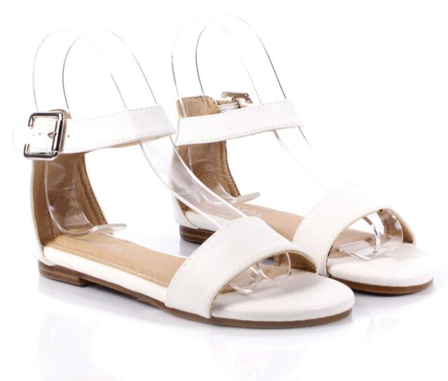 5 Color Ankle Strappy Buckle Silp On Casual Girls Sandals Youth Kids Shoes Size