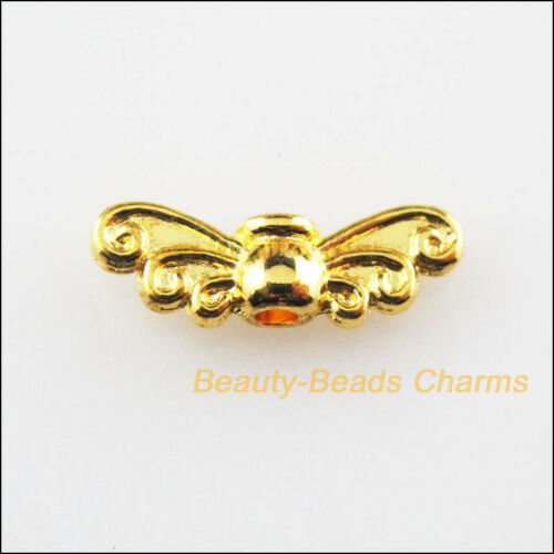 50Pcs plaqué or animal libellule ailes Spacer Beads Charms 4.5x14mm