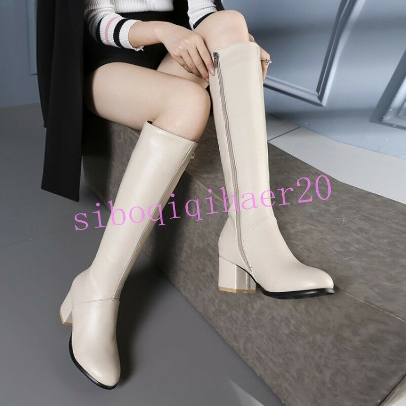 Womens Pu Leather shoes Knee High High High Boots Side Zip Mid Heel Velvet Lining 4.5-11.5 87c3f5