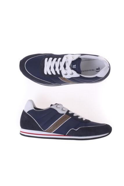 496927257bc74 Scarpe Sneaker Trussardi Jeans Shoes Pelle Uomo Blu 77S524 149