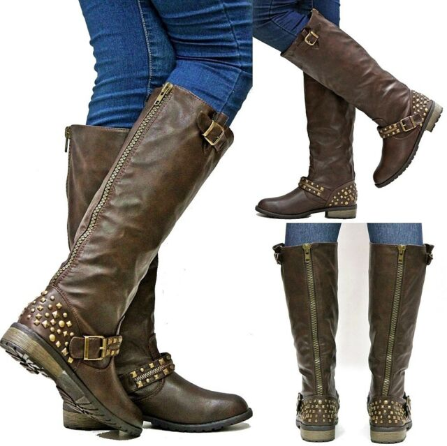 New Womens FM26 Brown Studded Riding Knee High Boots sz 5.5 to 10