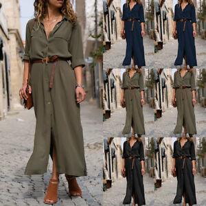 Damen Business V Neck Sommerkleid Freizeitkleid Strandkleid Maxikleid Shirtkleid Ebay
