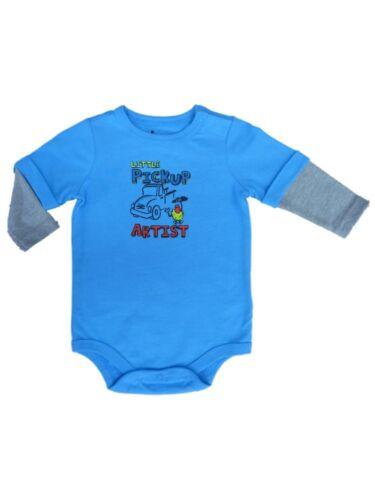 Infant Boys Little Pickup Artist Blue Creeper Long Sleeved Bodysuit