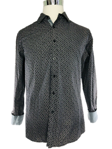 Sahara-Club-Gambler-Dice-Button-Down-Long-Sleeve-Shirt-Black-White-Men-039-s-Large