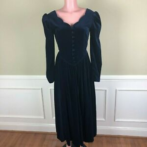 Laura-Ashley-Womens-Dress-Blue-Velvet-Sweetheart-Neck-US-Size-6-Vintage-80-039-s-90s