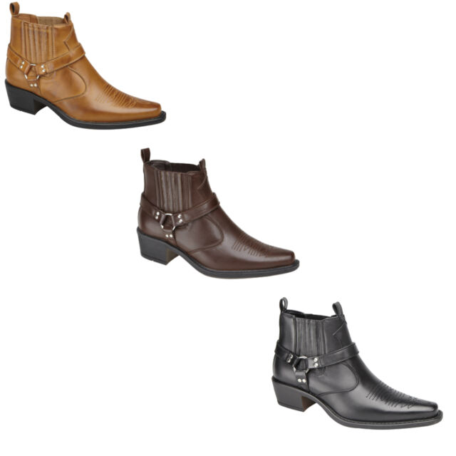 New Mens / Gents Western Style Cowboy Boots AU Size 6 7 8 9 10 11 12