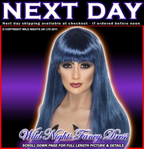 BLUE HALLOWEEN FANCY DRESS WIG # GLAMOUR WITCH WIG BLACK