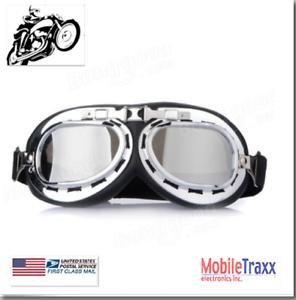 Universal-Adjustable-Chrome-UV-Lenses-Motorcycle-ATV-Helmet-Goggles-Gray-Lens