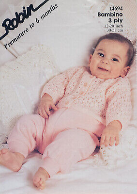 Vintage Knitting Pattern BABIES BABY LACY MATINEE COATS JACKETS 4 DESIGNS 3 PLY