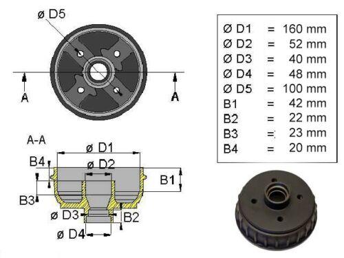 GÖRGEN 1 Bremstrommel 160 x 35 mm für ALKO mit Lagerpaarung  4 Loch komplett
