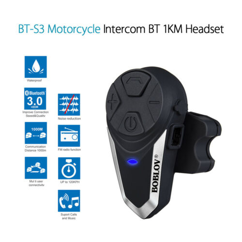 BT-S3 Motorcycle Intercom Blue-tooth Interphone Helmet Headset 1000M FM Radio