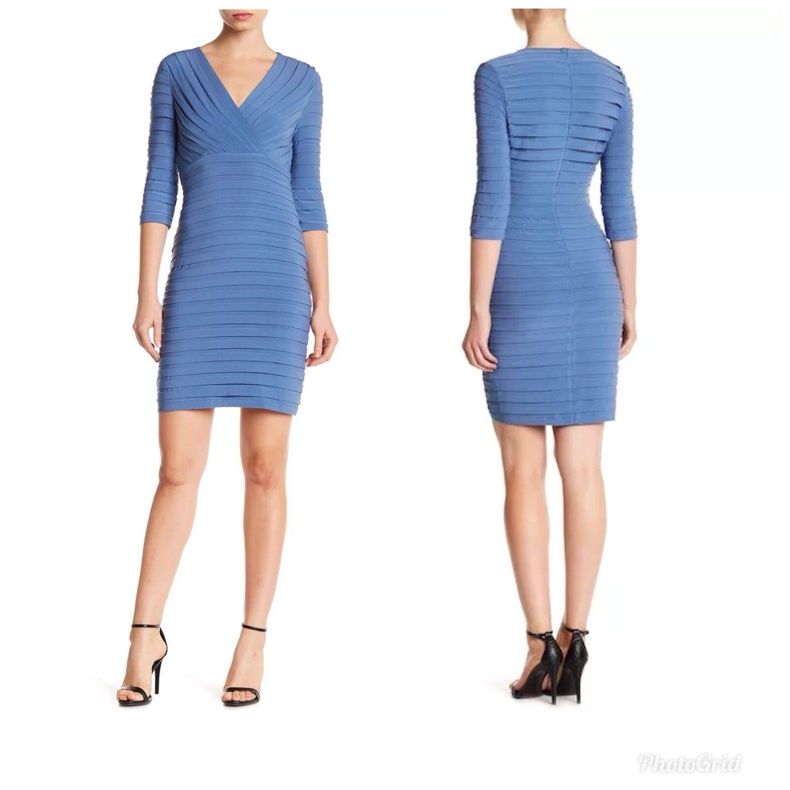 Adrianna Papell Pleated Jersey Sheath Dress Bodycon Steel Blau V Neck 3 4 Sleeve