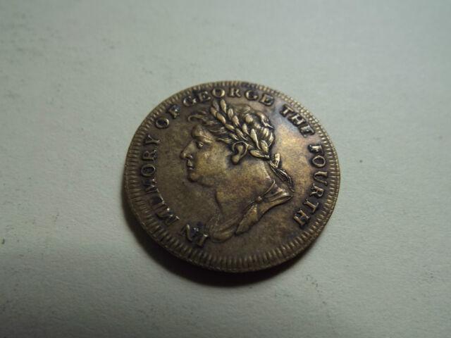 En mémoire George IV né 1762 couronné 1821 obit 1830 médaille / jeton en laiton (2297b)