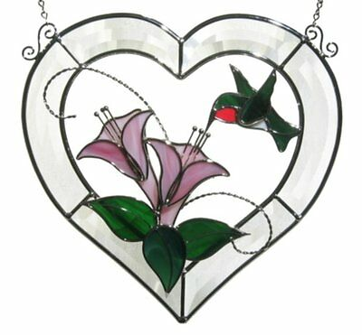 CRYSTAL HEART HUMMINGBIRD KIT Precut Stained Glass PLEASE READ DESCRIPTION! 9101