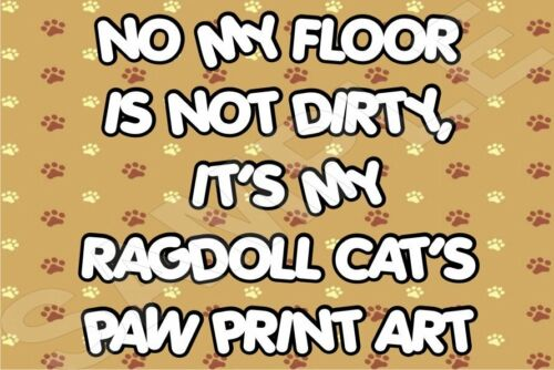 MY FLOOR IS NOT DIRTY IT/'S MY RAGDOLL CAT/'S PAW ART Fridge Magnet Ideal Gift