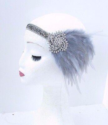 Dark Grey Silver Feather Headband 1920s Flapper Headpiece Great Gatsby Vtg 3724
