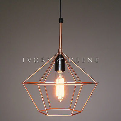 DIAMOND CAGE PENDANT Copper Tone Wire Lamp Light Retro Chandelier Black Cord E27