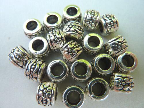 Métal Perle European Bead Spacer Rondell Argent ornées de 7,5 mm métal 2276
