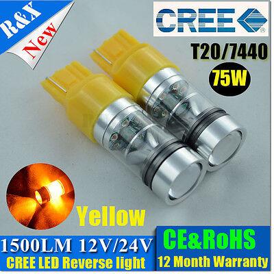 New 2x7440 T20 15 Cree 75W Yellow LED CAR BACKUP REVERSE LIGHT TAIL/TURN LIGHTS