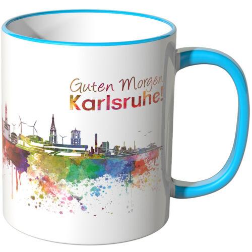 """Farben WANDKINGS Tasse Schriftzug /""""Guten Morgen Karlsruhe!/"""" mit Skyline versch"""
