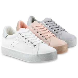 huge discount 40acf 0369e Details zu Damen Plateau Sneaker Glitzer Turnschuhe Freizeit Lack 822126  Schuhe