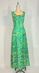 Vintage-1950s-60s-Henri-Bendel-Green-silk-brocade-maxi-dress-amp-Artbag-purse-set
