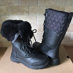 832003eccb6 Details about UGG Atlason Black Waterproof Leather Cuff Tall Rain Snow  Boots Size 10 Womens