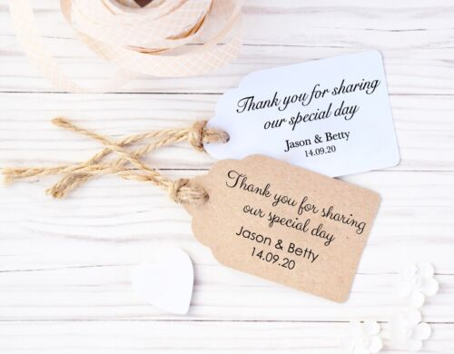 Personalised Wedding Favour /'Thank you for sharing our special day/' Tags-3 sizes