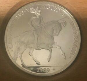 Espana 1989 Very Rare Imperator 5 Ecu Coin Plata Pura 1