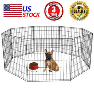 8-Panels-Foldable-Dog-Playpen-Crate-Metal-Fence-Pet-Puppy-Play-Pen-Exercise-Cage