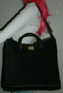 DOONEY-amp-BOURKE-BLACK-SUEDE-LEATHER-TOTE-BAG-SHOULDER-BAG-HANDBAG-PURSE
