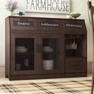 Details About Farmhouse Buffet Mini Bar Table Sideboard Server Cabinet Dining Room Storage New