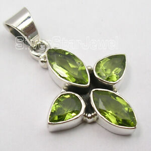 Sterling-Silver-Genuine-Peridot-Necklace-Pendant-Women-039-s-New-Jewelry