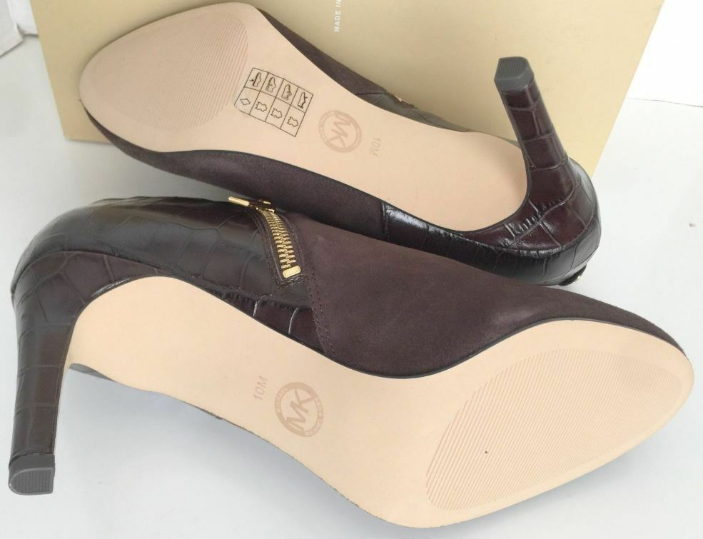Michael Kors Sammy Coffee Braun Suede Suede Braun Leder Booties Ankle Stiefel 10 09c028