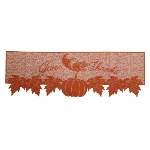 Pumpkin Maple Leaf Fireplace Scarf Thanksgiving Lace Mantel Cover Home Decor US