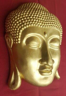 BUDDHA Maske aus wiederstandsfähiger Keramik Buddhakopf Meditation Buddhismus s