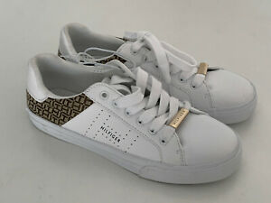 NEW-TOMMY-HILFIGER-LORIO-WHITE-BROWN-LOGO-PRINTED-SNEAKERS-SHOES-5-5-35-5-SALE