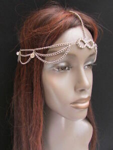 NEW-WOMEN-SILVER-HEAD-METAL-CHAIN-FASHION-JEWELRY-GRECIAN-CIRCLET-SILVER-BEADS