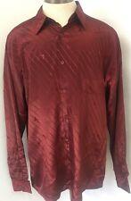 Giorgio Armani Men's LS Satin Button Club Shirt XL All Over Name&Logo Purple WOW