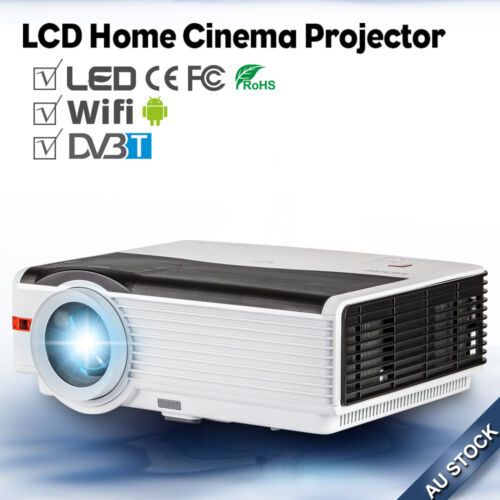 1 of 1 - 5000lm LED Home Theater Projector Android WIFI DVB-T2 Online Movie Apps USB HDMI
