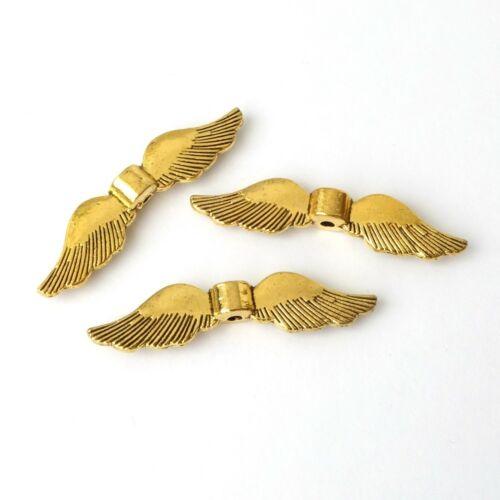 Metall Flügel Engel Schutzengel Basteln Farbe Gold antik Engelsflügel 35x8,5mm