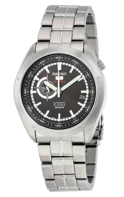 SEIKO Automatic SSA065 SSA065K1 Men 24-Hour Black Dial Stainless Steel Watch