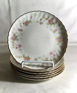 """6 Syracuse Silhouette Shape Pink Floral Spray 6 1/2"""" Coupe Bread Plates"""