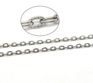 1m-Chaine-maille-Forcat-Texturee-chainette-Argente-4-5mm-x-3mm-petit-maillon