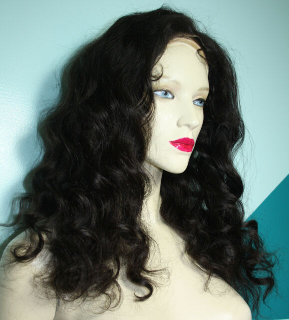 Full Lace Wig Wigs Remi Remy Indian Human Black Hair Wavy Hand Tied Silky Soft