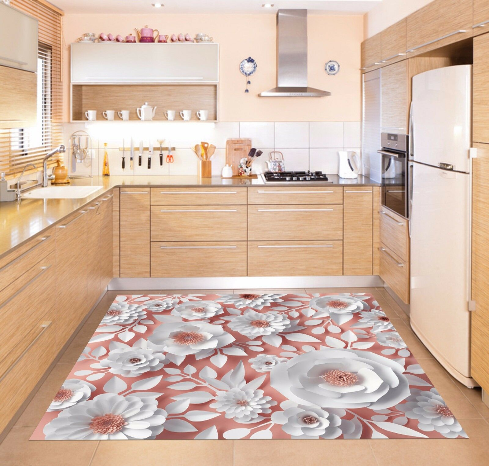 3D White Flowers 5 Kitchen Mat Floor Murals Wall Print Wall AJ WALLPAPER AU Kyra