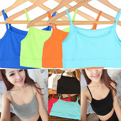 1xSpaghetti Strap Cropped Tube Tank Top Bandeau Yoga Athletic Sports Bra No Wire