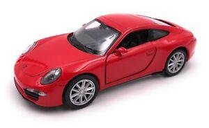 Modello-di-auto-PORSCHE-911-CARRERA-S-ROSSO-AUTO-SCALA-1-34-39-concesso-in-licenza