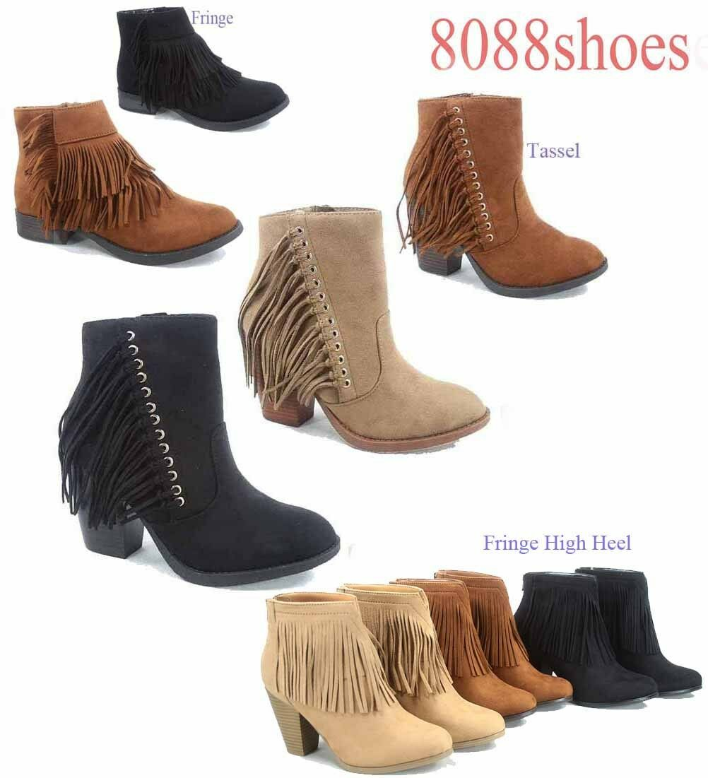 Women's Fashion Zipper Fringe Cowboy Round Toe Chunky Heel Bootie Size 7 -11 NEW