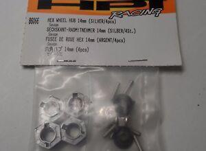 Raro-Nuevo-Hpi-14mm-Hex-Cubo-de-rueda-4-un-Acabado-Plateado-86066